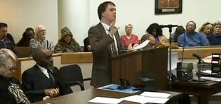 Eviction Defense lawyer standing up for clients in  court